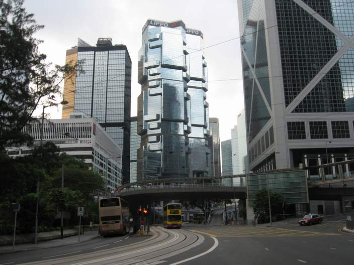 Central Hong Kong street scene, with an oddly shaped building.