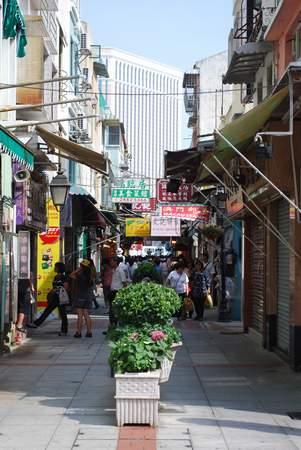 A pedestrian street on the Taipa side