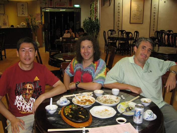 From left to right: My brother in law Chen Tao, my friend and business partner Michael Bluejay, and myself, having an authentic vegetarian dinner.